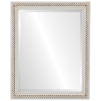Beveled Mirror - Santa Fe Rectangle Frame - Antique White