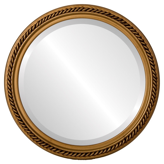 Beveled Mirror - Santa Fe Round Frame - Gold Paint
