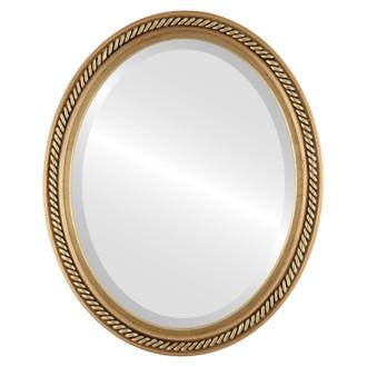 Beveled Mirror - Santa Fe Oval Frame - Gold Leaf
