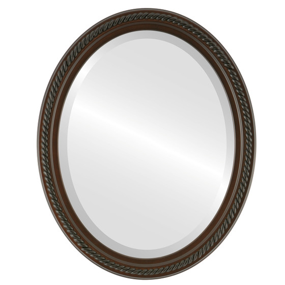 Beveled Mirror - Santa Fe Oval Frame - Walnut