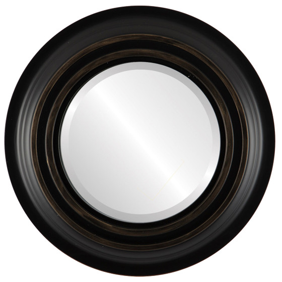 Beveled Mirror - Imperial Round Frame - Matte Black with Gold Lip