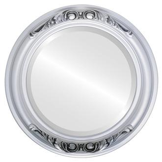 Beveled Mirror - Florence Round Frame - Silver Spray