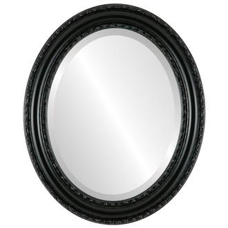 Beveled Mirror - Dorset Oval Frame - Gloss Black