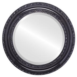 Beveled Mirror - Dorset Round Frame - Gloss Black
