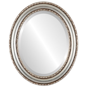 Beveled Mirror - Dorset Oval Frame - Silver Leaf with Brown Antique