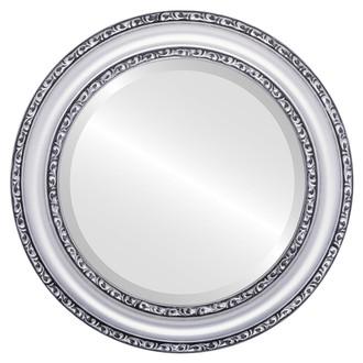 Beveled Mirror - Dorset Round Frame - Silver Spray