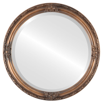 Beveled Mirror - Jefferson Round Frame - Sunset Gold