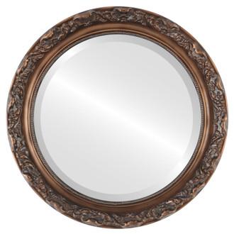 Beveled Mirror - Rome Round Frame - Sunset Gold