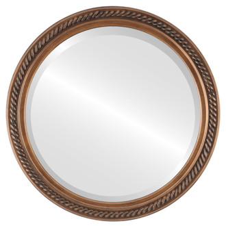 Beveled Mirror Mirror - Santa Fe Circle Frame - Sunset Gold