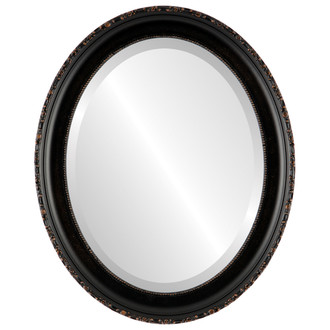 Beveled Mirror - Kensington Oval Frame - Rubbed Bronze