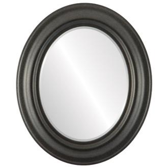 Beveled Mirror - Lancaster Oval Frame - Black Silver