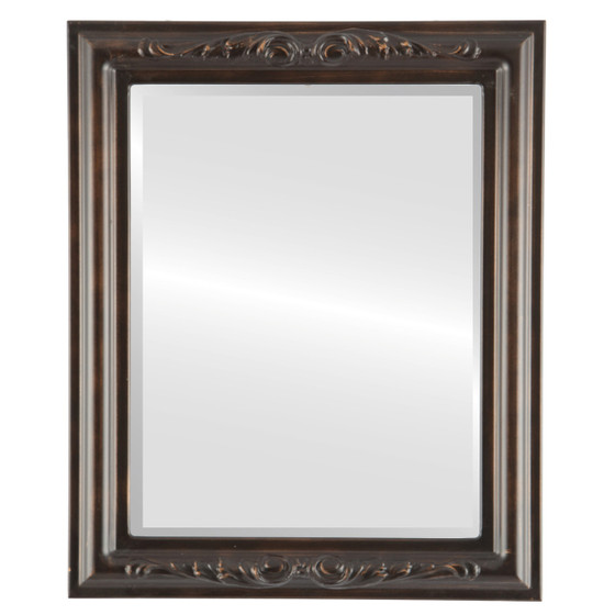 Beveled Mirror - Florence Rectangle Frame - Rubbed Bronze