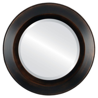 Beveled Mirror - Lombardia Round Frame - Rubbed Bronze