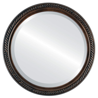 Beveled Mirror - Santa Fe Round Frame - Rubbed Bronze
