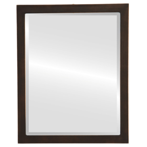 Beveled Mirror - Manhattan Rectangle Frame - Rubbed Bronze