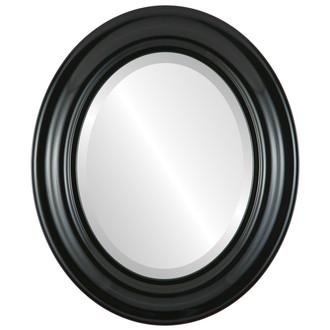 Beveled Mirror - Lancaster Oval Frame - Gloss Black
