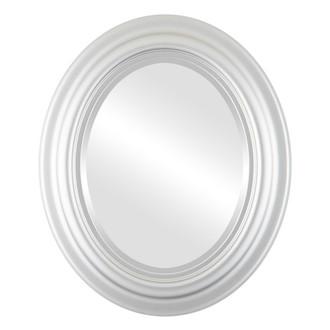 Beveled Mirror - Lancaster Oval Frame - Silver Spray