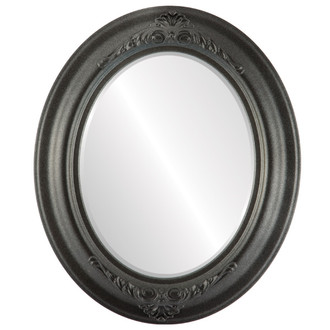 Beveled Mirror - Winchester Oval Frame - Black Silver