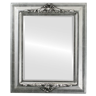 Beveled Mirror - Winchester Rectangle Frame - Silver Leaf with Black Antique