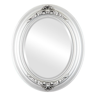 Beveled Mirror - Winchester Oval Frame - Silver Spray