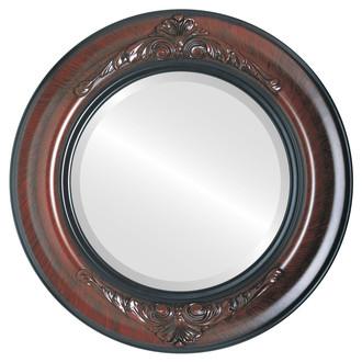 Beveled Mirror - Winchester Round Frame - Vintage Cherry