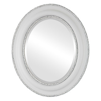 Beveled Mirror - Somerset Oval Frame - Linen White