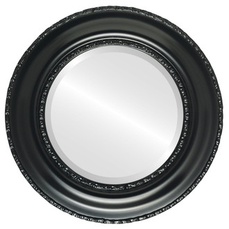 Beveled Mirror - Somerset Round Frame - Matte Black