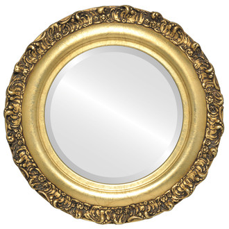 Beveled Mirror - Venice Round Frame - Gold Leaf