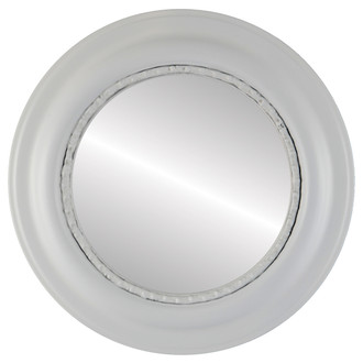 Beveled Mirror - Chicago Round Frame - Linen White