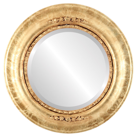 Beveled Mirror - Boston Round Frame - Champagne Gold