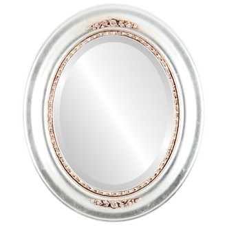 Beveled Mirror - Boston Oval Frame - Silver Leaf with Brown Antique
