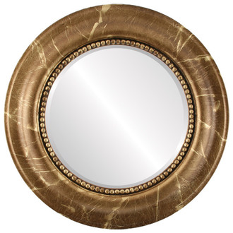 Beveled Mirror - Heritage Round Frame - Champagne Gold