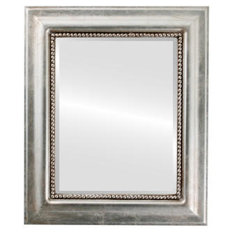 Beveled Mirror - Heritage Rectangle Frame - Silver Leaf with Brown Antique