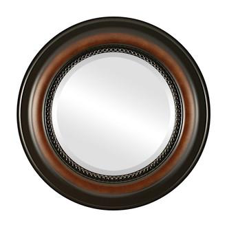 Beveled Mirror - Heritage Round Frame - Walnut