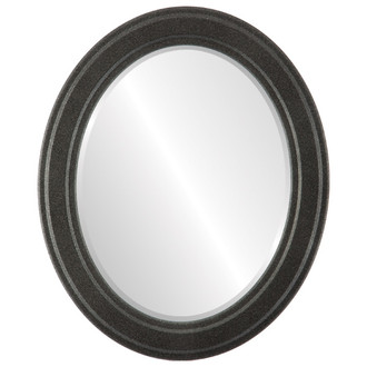 Beveled Mirror - Wright Oval Frame - Black Silver