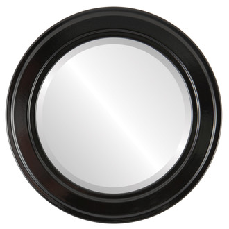 Beveled Mirror - Wright Round Frame - Gloss Black