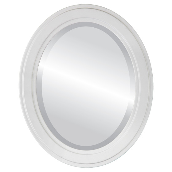Beveled Mirror - Wright Oval Frame - Linen White
