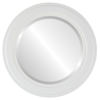 Beveled Mirror - Wright Round Frame - Linen White