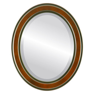 Beveled Mirror - Wright Oval Frame - Walnut