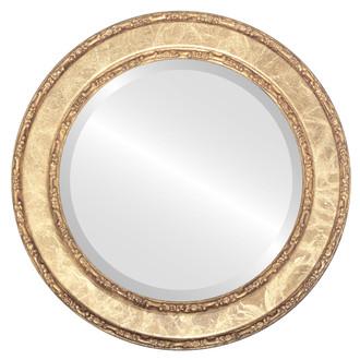 Beveled Mirror - Monticello Round Frame - Champagne Gold