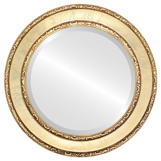 Beveled Mirror - Monticello Round Frame - Gold Leaf