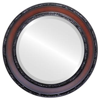 Beveled Mirror - Monticello Round Frame - Rosewood