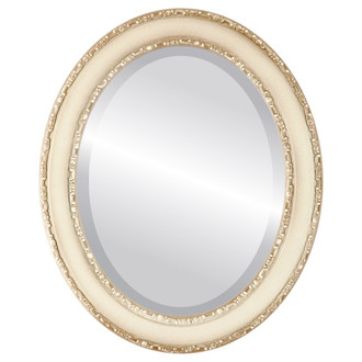 Beveled Mirror - Monticello Oval Frame - Taupe