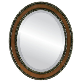 Beveled Mirror - Monticello Oval Frame - Walnut