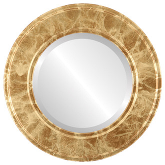 Beveled Mirror - Montreal Round Frame - Champagne Gold