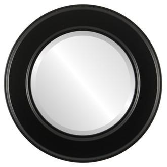Beveled Mirror - Montreal Round Frame - Gloss Black