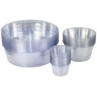 High quality clear deep vinyl saucers.  Made in the USA!  Clear, tough & flexible.