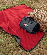 Red fleece picnic blanket with logo