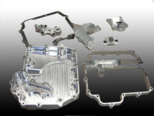 "Kawasaki ZX10 Oil Pan Set for 2011 models and up. 1 ½"" thick for added ground clearance These billet oil pans have swinging pick-ups to prevent oil pressure loss when drag racing. Features: Billet aluminum Swinging pick-up with needle bearing swivel Uses included drain plug."