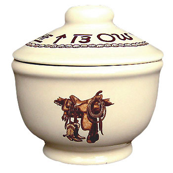 Boots & Saddle Sugar Bowl with Lid 5 x 4-inch